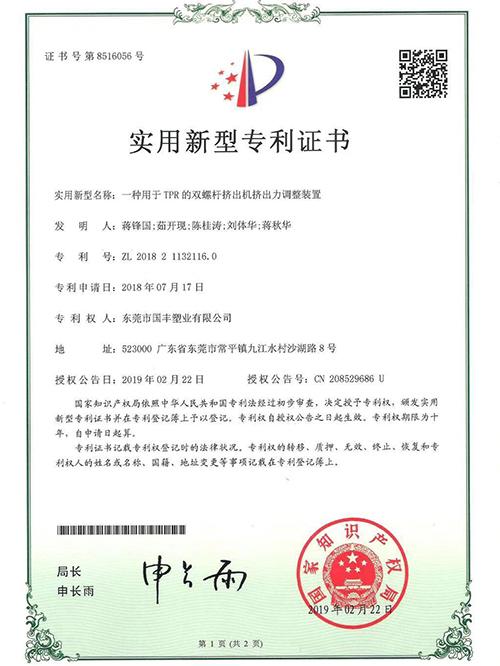 国丰-调整装置专利证书